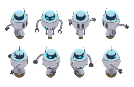 Set of the isometric futuristic robots. The objects are isolated against the white background and shown from different sides