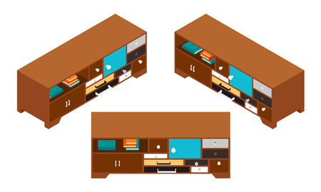 depository: Set of the isometric side tables with lots of drawers. The objects are isolated against the white background and shown from different sides