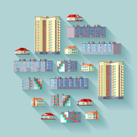 dwelling: Concept illustration with the dwelling buildings. Suitable for advertising and promotion