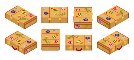 jack plane: Set of the isometric lying yellow travelers suitcases. The objects are isolated against the white background and shown from different sides