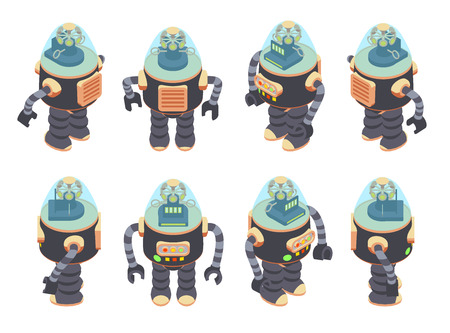 iron fun: Set of the isometric retro robots. The objects are isolated against the white background and shown from different sides