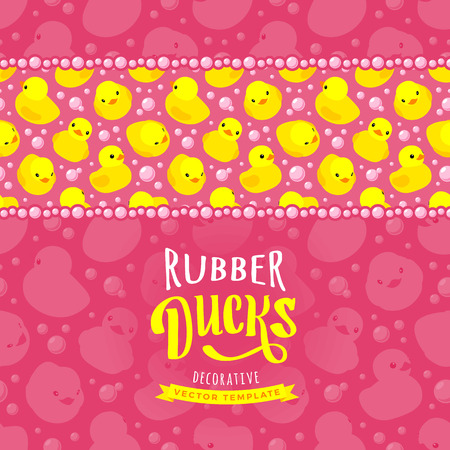 duckie: Vector decorating design made of yellow rubber ducks. Colorful card template with copy space