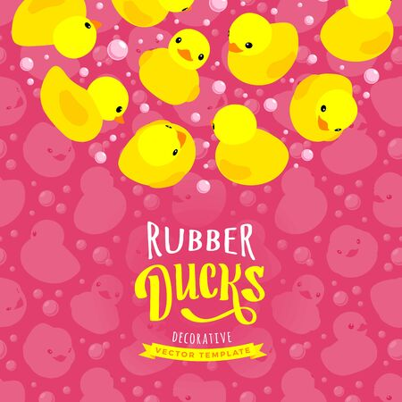 duck toy: Vector decorating design made of yellow rubber ducks. Colorful card template with copy space