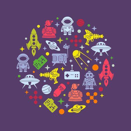 scifi: Retro Sci-Fi vector decorating design. Colorful card template Illustration