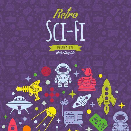 scifi: Retro Sci-Fi vector decorating design. Colorful card template with copy space