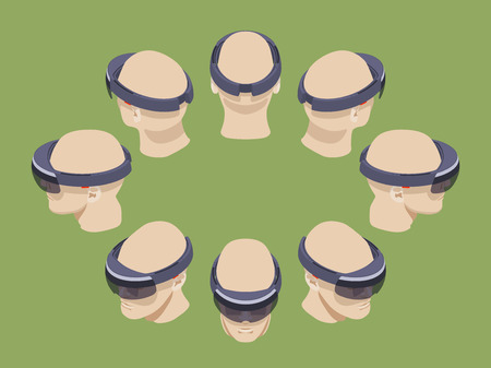 ar: Set of the isometric virtual reality headsets. The objects are isolated against the green background and shown from different sides