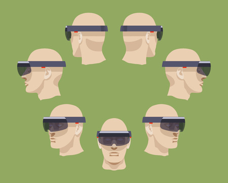 ar: Set of the virtual reality headsets. The objects are isolated against the green background and shown from different sides