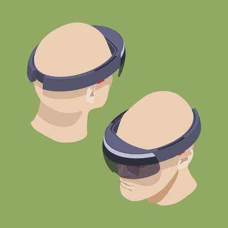 Set of the isometric virtual reality headsets. The objects are isolated against the green background and shown from different sides
