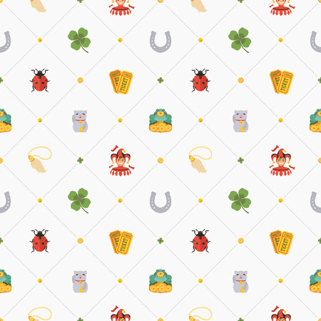 charms: Seamless pattern with Lucky Charms against the white background. The layout is fully editable