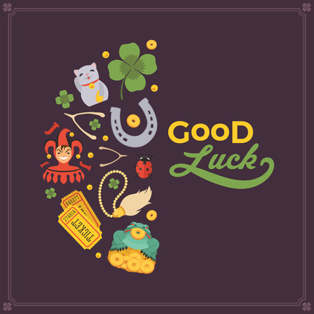 lucky: Vector decorating design made of Lucky Charms, and the words Good Luck. Colorful card template with copy space Illustration