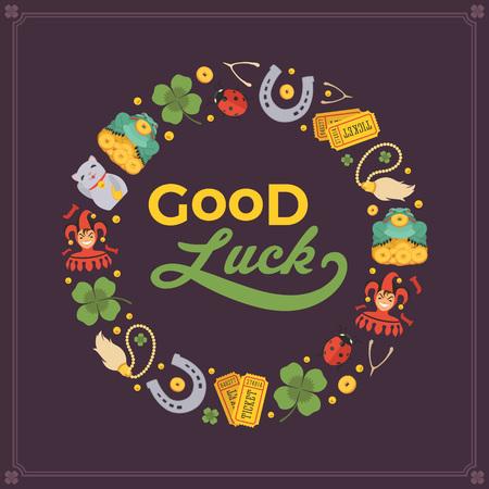 Conception vecteur de décoration faite de Lucky Charms, et les mots Good Luck. Modèle de carte coloré avec copie espace Vecteurs
