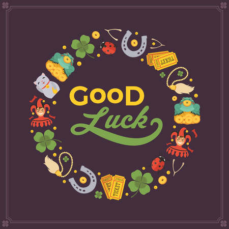 Vector decorating design made of Lucky Charms, and the words Good Luck. Colorful card template with copy space Иллюстрация