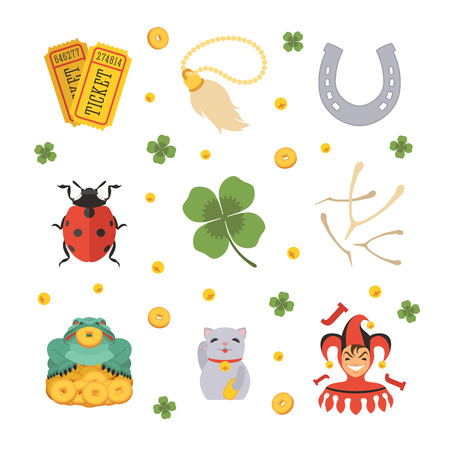 Set of the Lucky Charms icons. The objects are isolated against the white background Vettoriali
