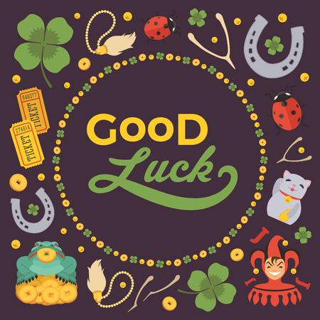 Conception vecteur de décoration faite de Lucky Charms, et les mots Good Luck. Modèle de carte coloré avec copie espace