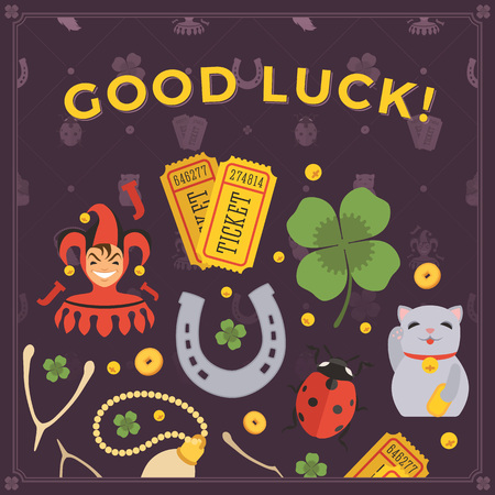 luck charms: Vector decorating design made of Lucky Charms, and the words Good Luck. Colorful card template with copy space Illustration