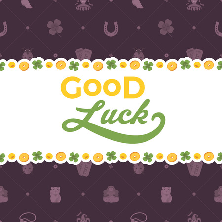 neko: Vector decorating design made of Lucky Charms, and the words Good Luck. Colorful card template with copy space Illustration
