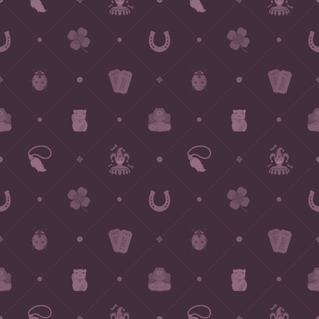 maneki neko: Seamless pattern with Lucky Charms against the maroon background. The layout is fully editable Illustration
