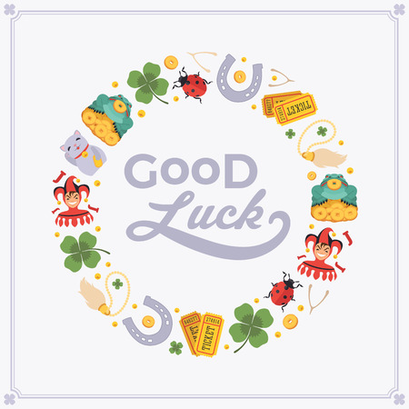 charms: Vector decorating design made of Lucky Charms, and the words Good Luck. Colorful card template with copy space Illustration