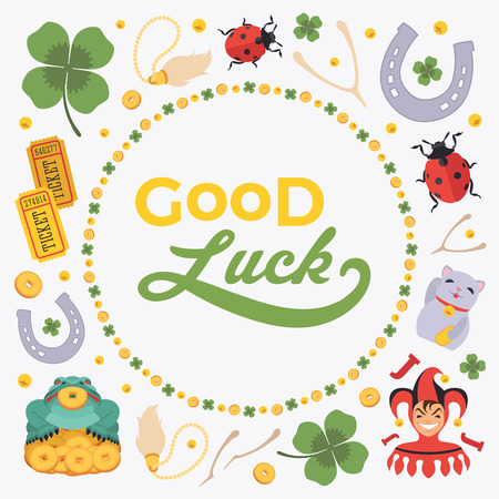 Vector decorating design made of Lucky Charms, and the words Good Luck. Colorful card template with copy space Ilustração