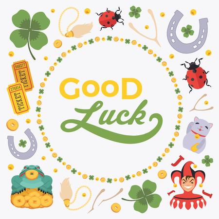 Vector decoreren ontwerp gemaakt van Lucky Charmes, en de woorden Good Luck. Kleurrijke kaart sjabloon met kopie ruimte Stock Illustratie