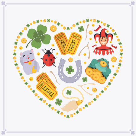 neko: Heart-shape vector decorating design made of Lucky Charms. Colorful card template