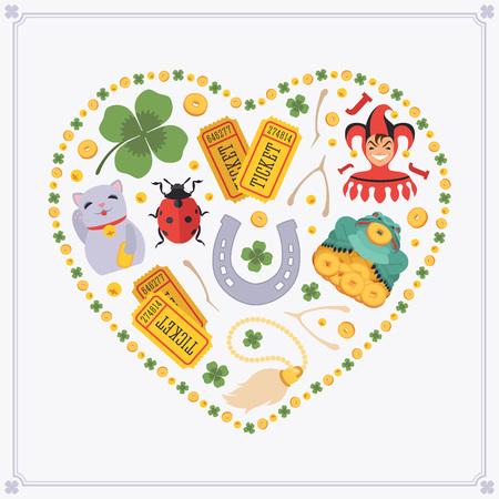 maneki neko: Heart-shape vector decorating design made of Lucky Charms. Colorful card template