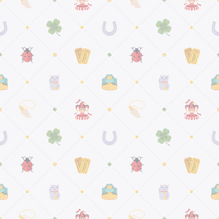 maneki neko: Seamless pattern with Lucky Charms against the white background. The layout is fully editable