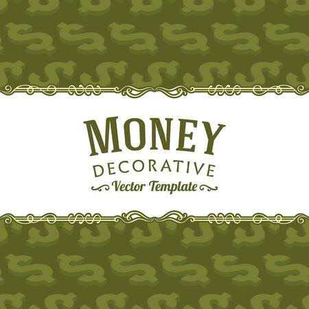signo pesos: diseño de la decoración del vector hecha de símbolos del dólar isométricos. plantilla de tarjeta de colorido con el espacio de la copia