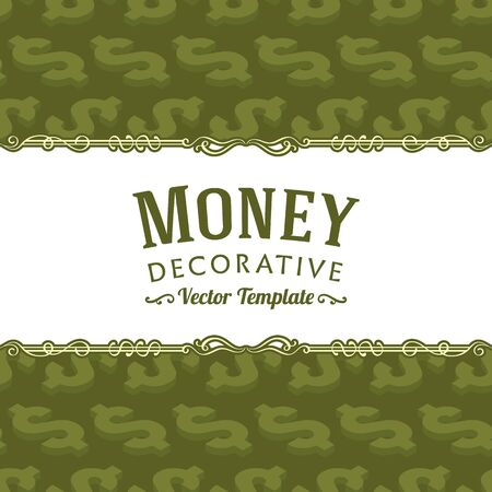 dollar sign: Vector decorating design made of isometric dollar symbols. Colorful card template with copy space