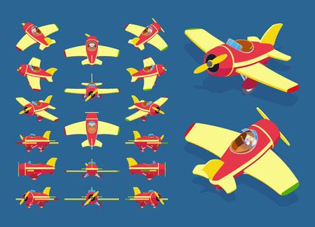 mosca caricatura: Conjunto de los aviones de juguete isométricos. Los objetos están aislados sobre el fondo azul oscuro y se muestran desde diferentes lados