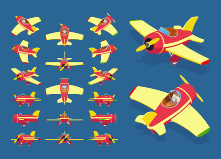 airplane wing: Set of the isometric toy planes. The objects are isolated against the dark-blue background and shown from different sides