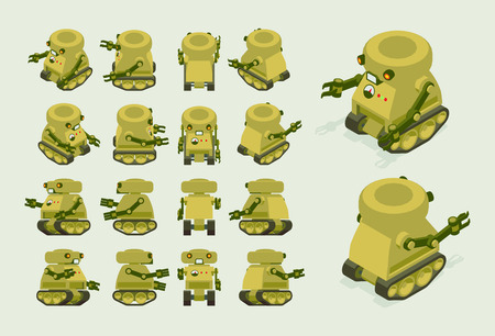 Isometric khaki military robot on crawler tracks. The objects are isolated against the light-beige background and shown from different sides Vectores