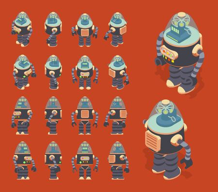 automaton: Set of the isometric retro robots. The objects are isolated against the red background and shown from different sides