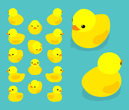 duck toy: Set of the isometric yellow rubber ducks. The objects are isolated against the teal background and shown from different sides