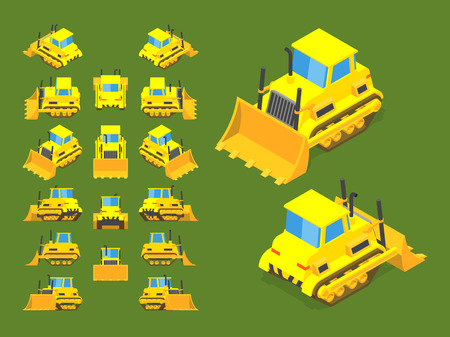 scraper: Set of the isometric yellow bulldozers. The objects are isolated against the green background and shown from different sides