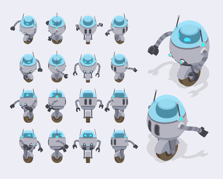Set of the isometric futuristic robots. The objects are isolated against the light-gray background and shown from different sides 矢量图像