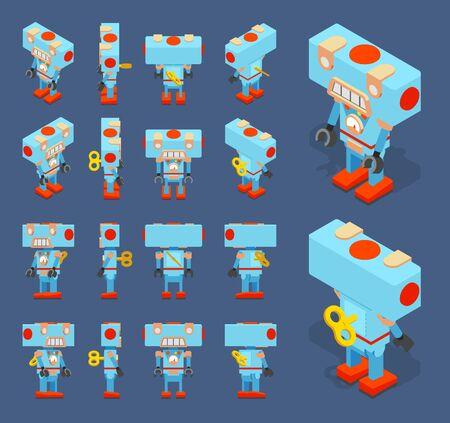 robot: Conjunto de los robots de juguete azules isométricos con la llave en la parte posterior. Los objetos están aislados sobre el fondo azul oscuro y se muestran desde diferentes lados