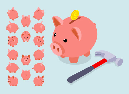Isometric piggy bank. Set of the piggy moneyboxes. The objects are isolated against the light-blue background and shown from different sides