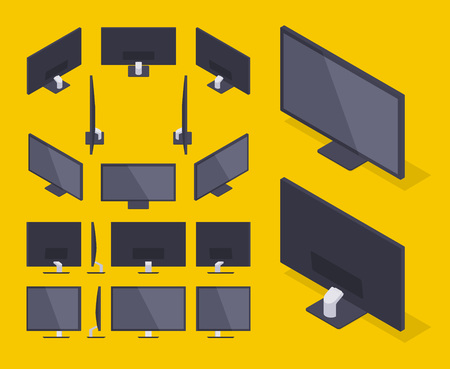 fullhd: Set of the isometric HD Monitors. The objects are isolated against the yellow background and shown from different sides