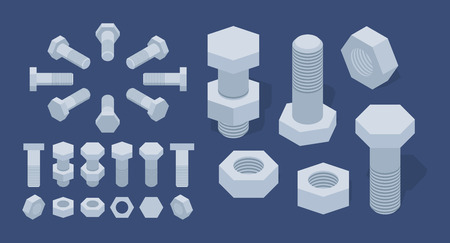 Set of the isometric screw-nuts and bolts. The objects are isolated against the dark-blue background and shown from different sides