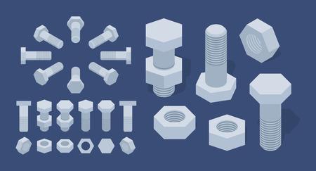 tuercas y tornillos: Conjunto de las meteduras de tuercas y tornillos isom�tricos. Los objetos est�n aislados sobre el fondo azul oscuro y se muestran desde diferentes lados