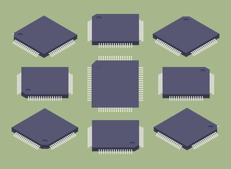Set der isometrischen Mikrochips. Die Objekte werden isoliert vor dem grünen Hintergrund und von verschiedenen Seiten gezeigt