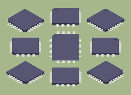 Set of the isometric microchips. The objects are isolated against the green background and shown from different sides Illustration