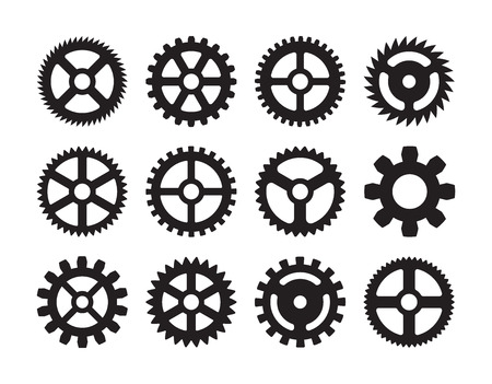 Set of the gears. The objects are isolated against the white background Çizim