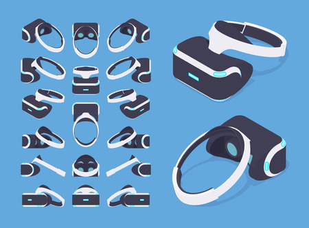 headset: Set of the isometric virtual reality headsets. The objects are isolated against the blue background and shown from different sides