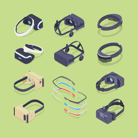 Isometric virtual and augmented reality headsets. The objects are located on the green background and shown from two sides