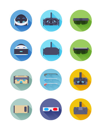Virtual and augmented reality vector icons set