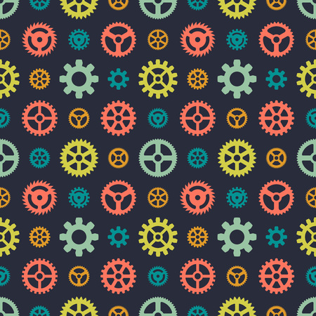 watch gears: Colored gears seamless pattern against the black background. The layout is fully editable Illustration