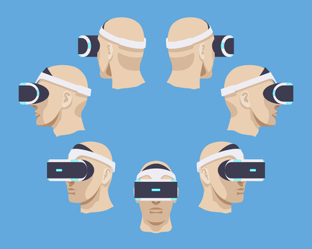 Set of the virtual reality headsets. The objects are isolated against the blue background and shown from different sides Illustration