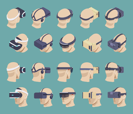 headset: Set of the isometric virtual reality headsets. The objects are isolated against the green background and shown from two sides